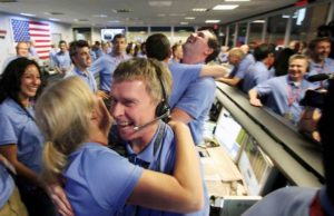 NASA celebrating the Mars landing of the rover Curiosity
